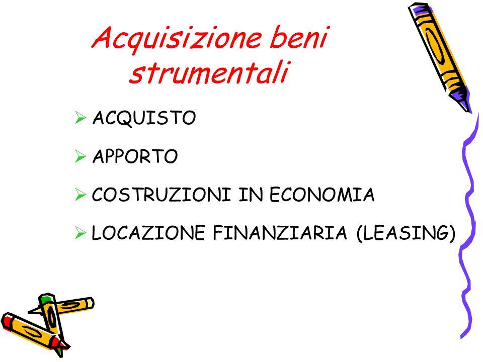 Acquisizione beni strumentali ACQUISTO APPORTO COSTRUZIONI IN ECONOMIA LOCAZIONE FINANZIARIA (LEASING)