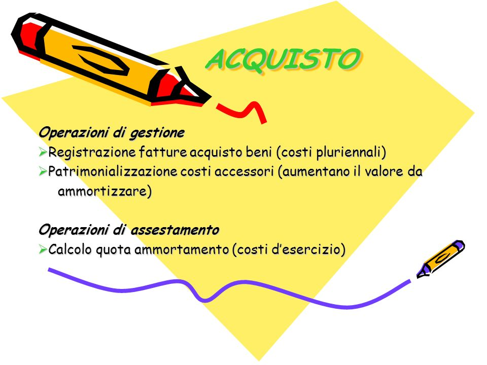 ACQUISTOACQUISTO Operazioni di gestione Registrazione fatture acquisto beni (costi pluriennali) Registrazione fatture acquisto beni (costi pluriennali