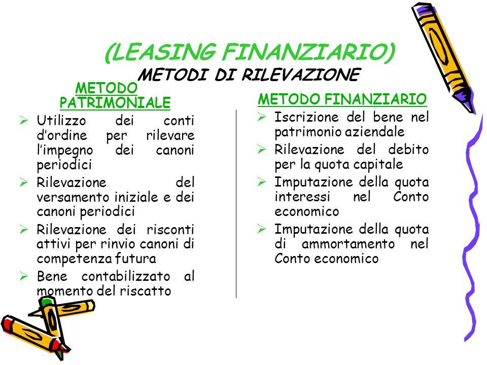 (LEASING FINANZIARIO) METODI DI RILEVAZIONE METODO PATRIMONIALE Utilizzo dei conti dordine per rilevare limpegno dei canoni periodici Rilevazione del