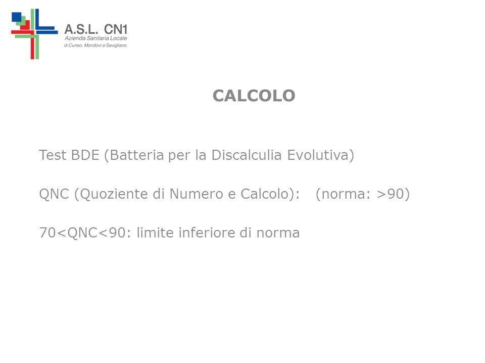 CALCOLO Test BDE (Batteria per la Discalculia Evolutiva) QNC (Quoziente di Numero e Calcolo): (norma: >90) 70<QNC<90: limite inferiore di norma