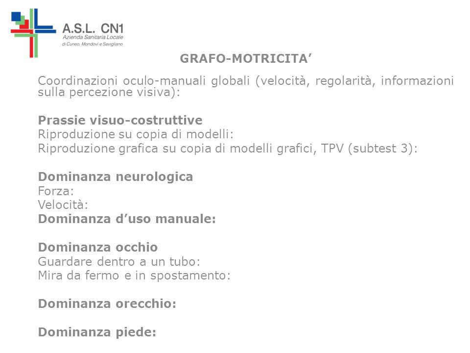 GRAFO-MOTRICITA Coordinazioni oculo-manuali globali (velocità, regolarità, informazioni sulla percezione visiva): Prassie visuo-costruttive Riproduzio