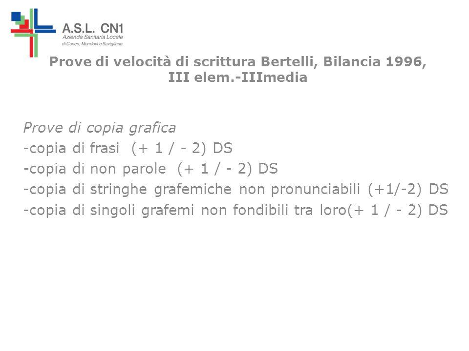Prove di velocità di scrittura Bertelli, Bilancia 1996, III elem.-IIImedia Prove di copia grafica -copia di frasi (+ 1 / - 2) DS -copia di non parole