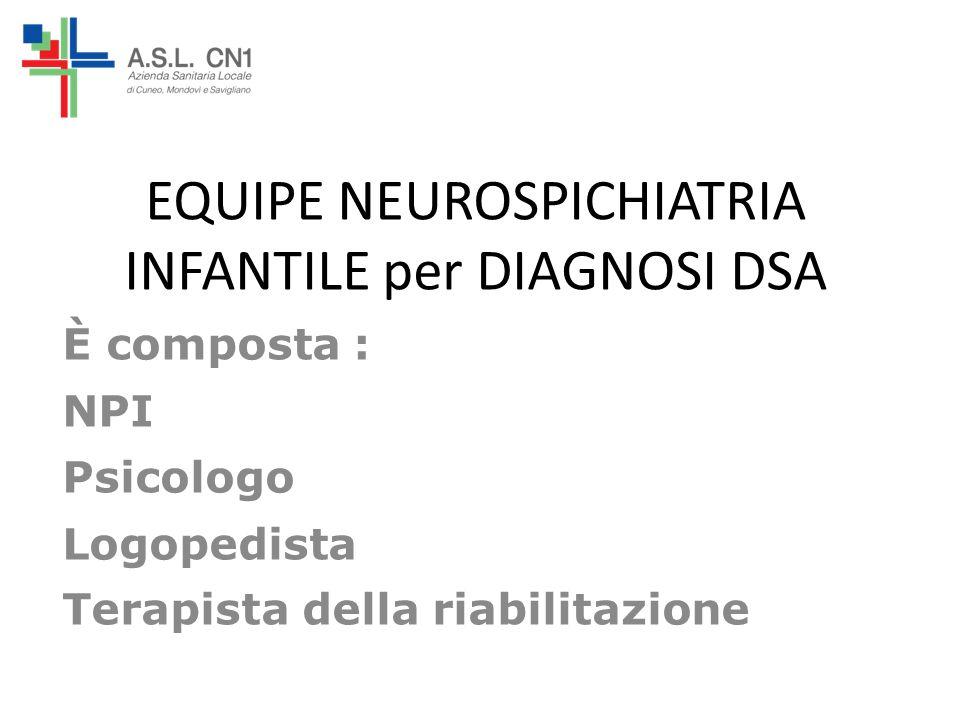 EQUIPE NEUROSPICHIATRIA INFANTILE per DIAGNOSI DSA È composta : NPI Psicologo Logopedista Terapista della riabilitazione