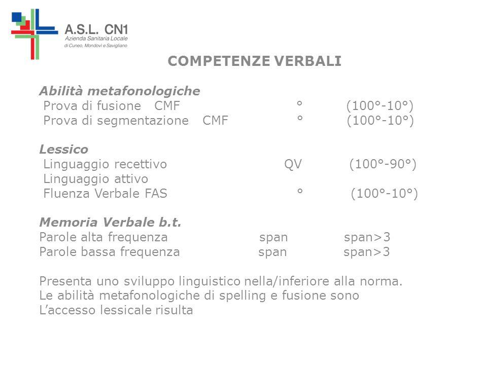 COMPETENZE VERBALI Abilità metafonologiche Prova di fusione CMF ° (100°-10°) Prova di segmentazione CMF ° (100°-10°) Lessico Linguaggio recettivo QV (