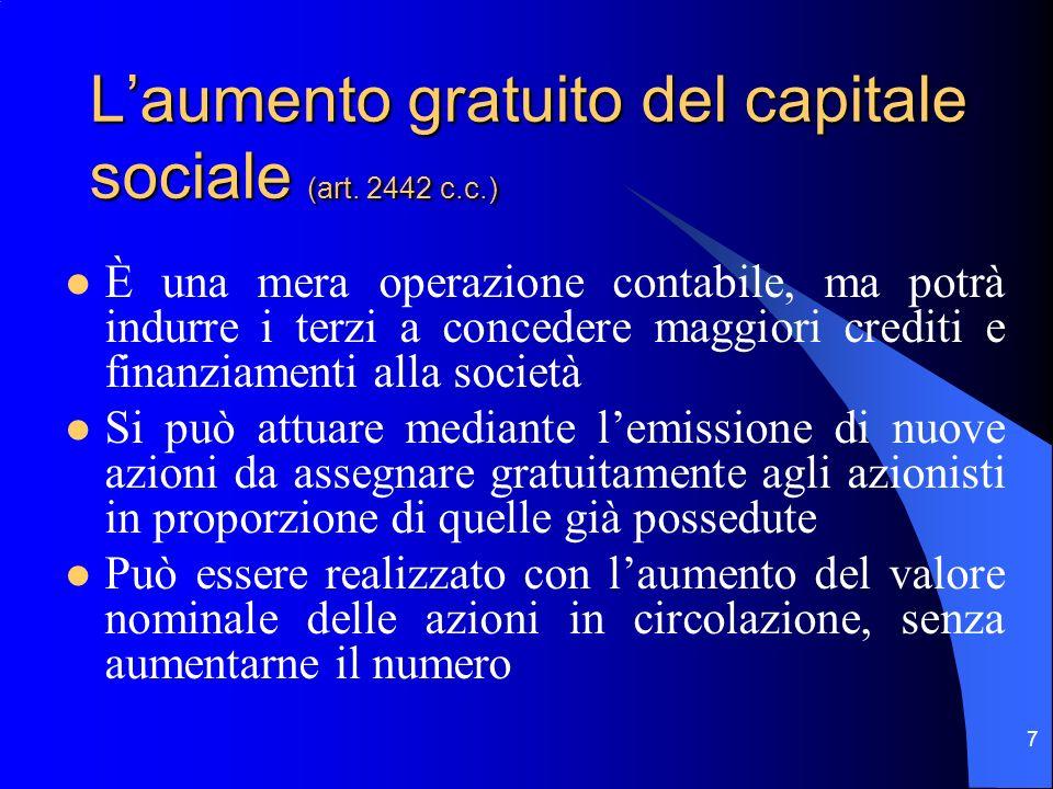 6 Laumento del capitale sociale a pagamento: il diritto di opzione (art. 2441 c.c.) Le azioni di nuova emissione sono offerte ai soci in proporzione a