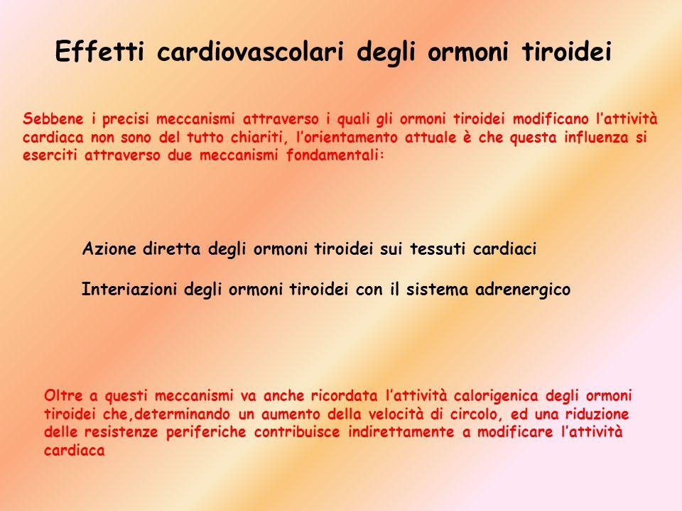 Effetti cardiovascolari degli ormoni tiroidei Sebbene i precisi meccanismi attraverso i quali gli ormoni tiroidei modificano lattività cardiaca non so