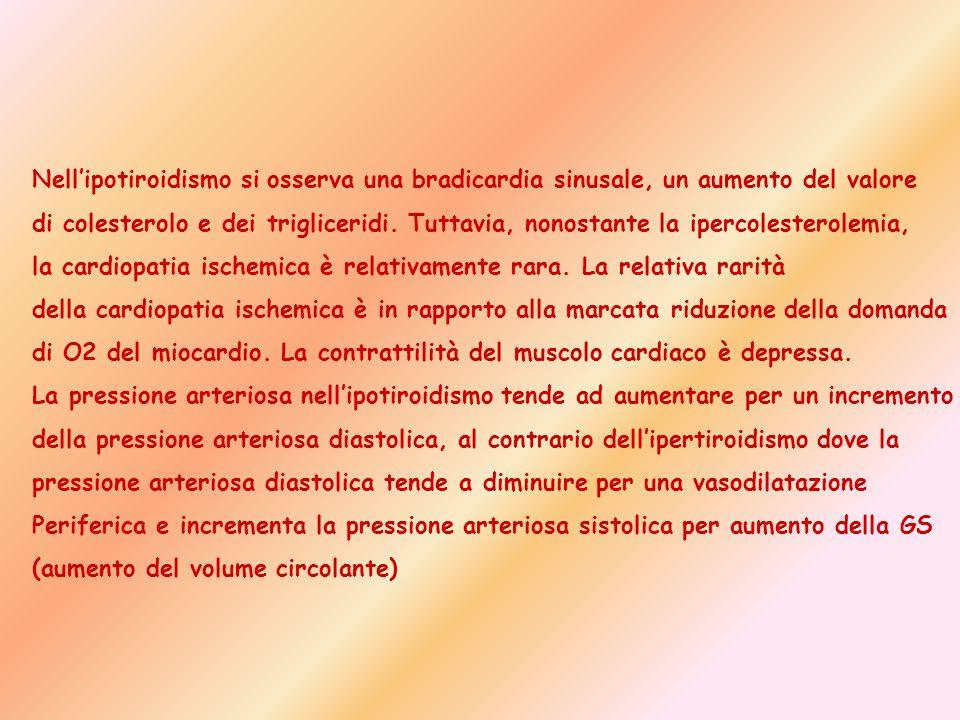 Nellipotiroidismo si osserva una bradicardia sinusale, un aumento del valore di colesterolo e dei trigliceridi. Tuttavia, nonostante la ipercolesterol