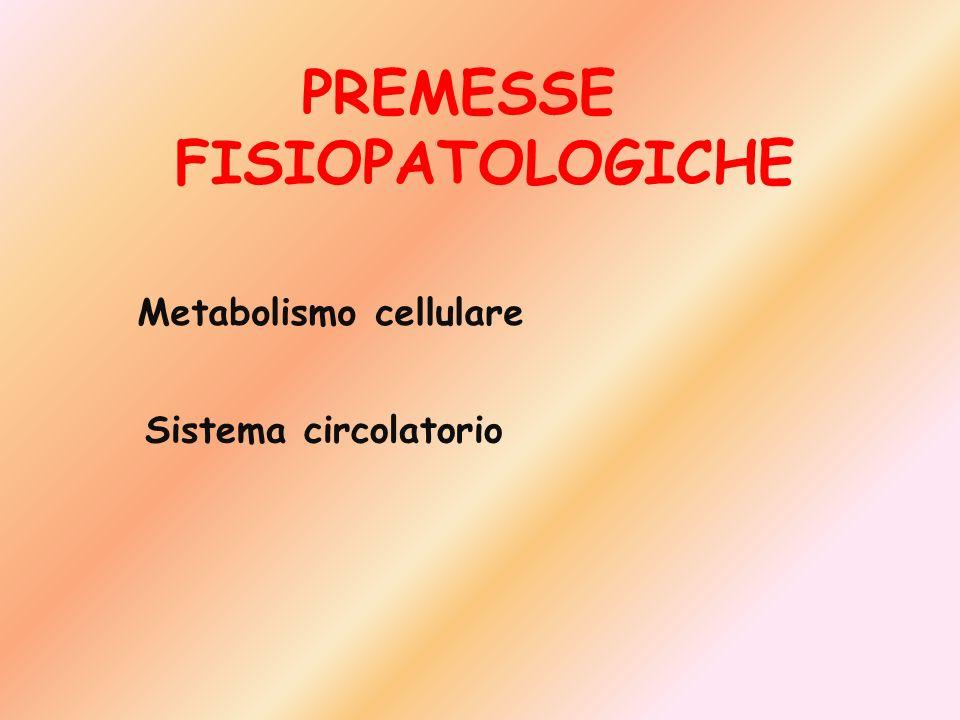 PREMESSE FISIOPATOLOGICHE Metabolismo cellulare Sistema circolatorio
