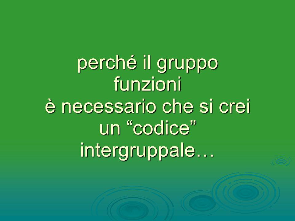 perché il gruppo funzioni è necessario che si crei un codice intergruppale…
