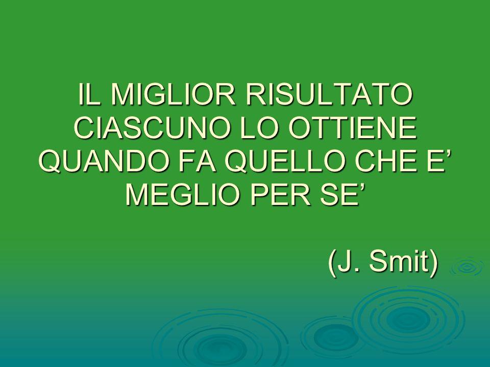 IL MIGLIOR RISULTATO CIASCUNO LO OTTIENE QUANDO FA QUELLO CHE E MEGLIO PER SE (J. Smit)