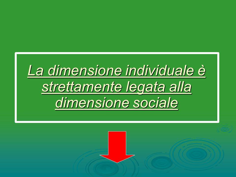 La dimensione individuale è strettamente legata alla dimensione sociale