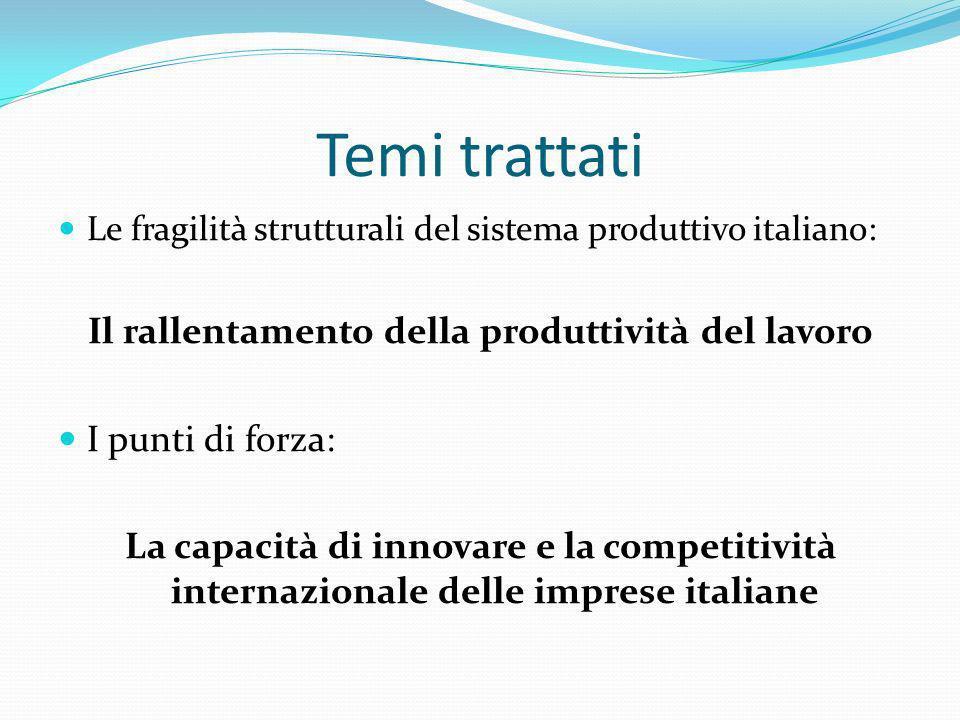 Temi trattati Le fragilità strutturali del sistema produttivo italiano: Il rallentamento della produttività del lavoro I punti di forza: La capacità d