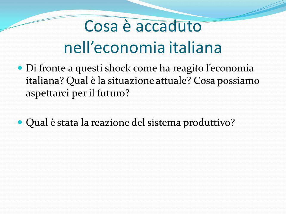 Cosa è accaduto nelleconomia italiana Di fronte a questi shock come ha reagito leconomia italiana? Qual è la situazione attuale? Cosa possiamo aspetta