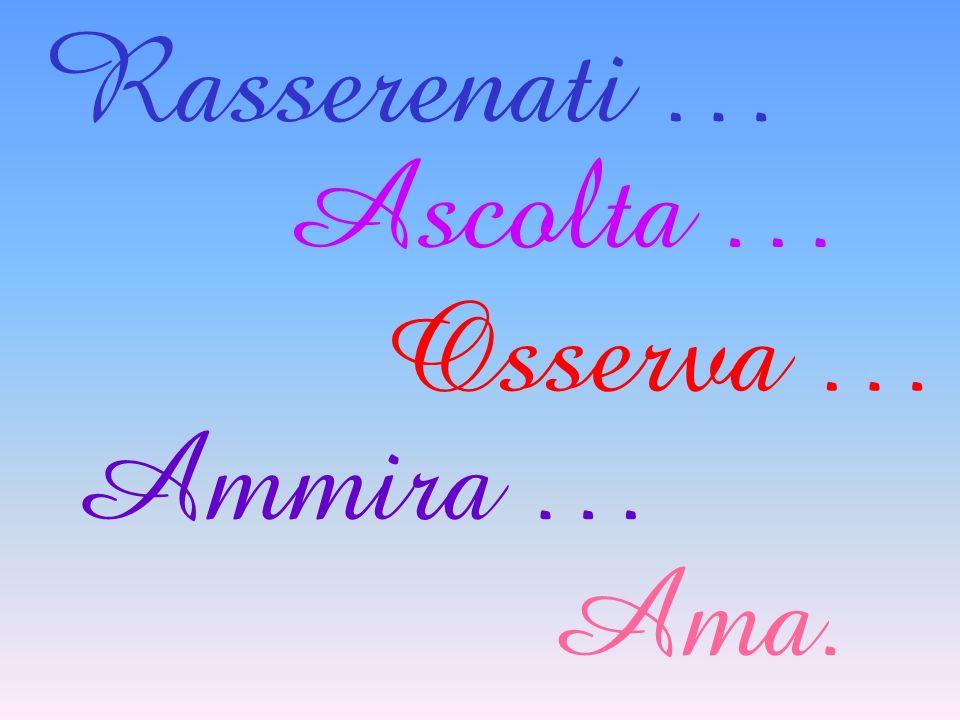 Rasserenati … Ascolta … Osserva … Ammira … Ama.