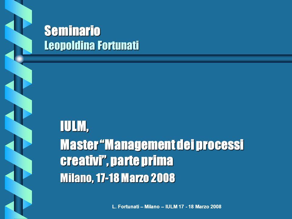 L. Fortunati – Milano – IULM 17 - 18 Marzo 2008 Seminario Leopoldina Fortunati IULM, Master Management dei processi creativi, parte prima Milano, 17-1