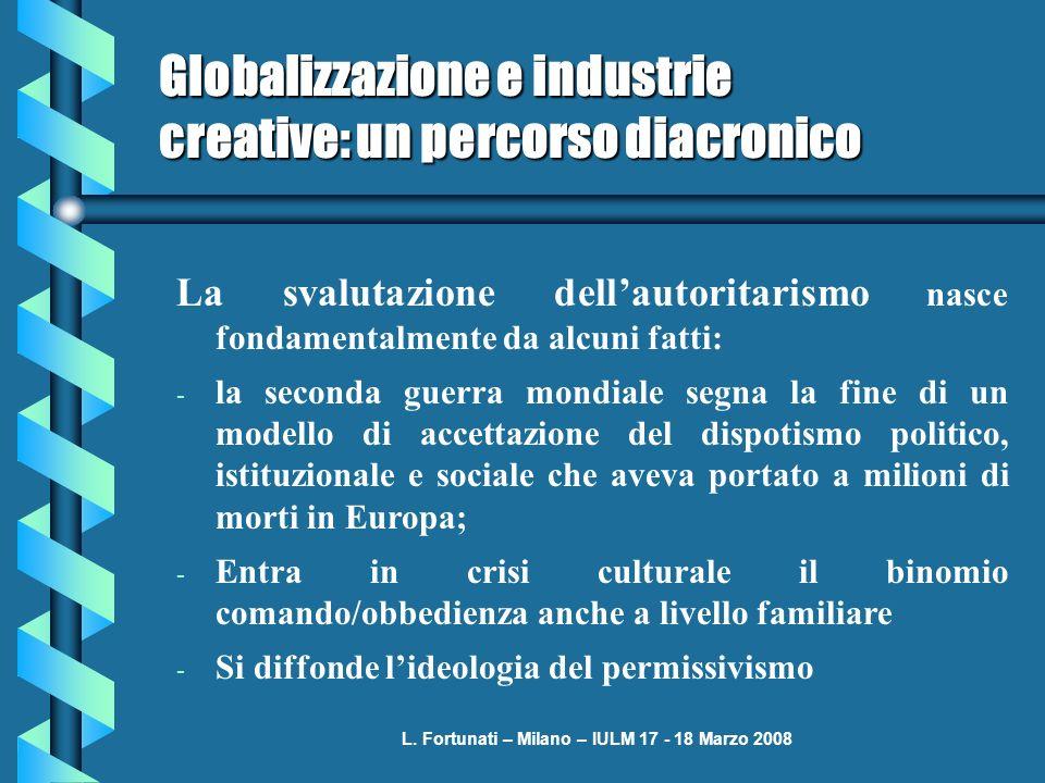 L. Fortunati – Milano – IULM 17 - 18 Marzo 2008 Globalizzazione e industrie creative: un percorso diacronico La svalutazione dellautoritarismo nasce f