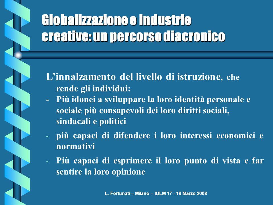 L. Fortunati – Milano – IULM 17 - 18 Marzo 2008 Globalizzazione e industrie creative: un percorso diacronico Linnalzamento del livello di istruzione,