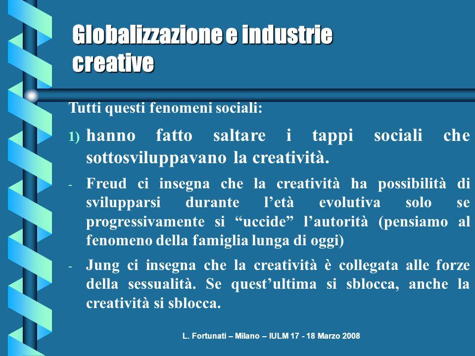 L. Fortunati – Milano – IULM 17 - 18 Marzo 2008 Globalizzazione e industrie creative Tutti questi fenomeni sociali: 1) hanno fatto saltare i tappi soc
