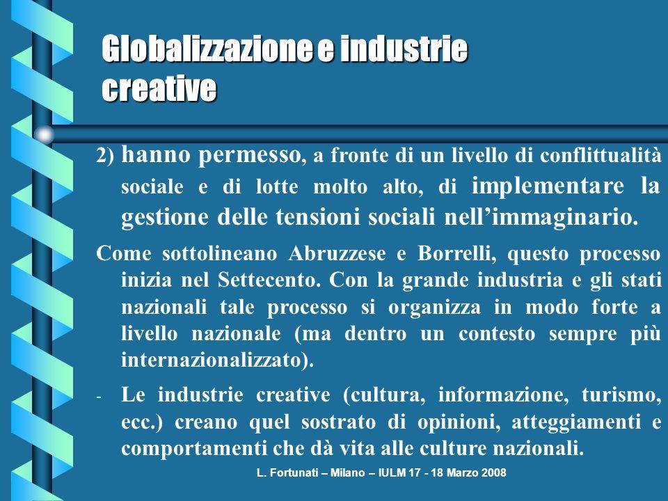 L. Fortunati – Milano – IULM 17 - 18 Marzo 2008 Globalizzazione e industrie creative 2) hanno permesso, a fronte di un livello di conflittualità socia