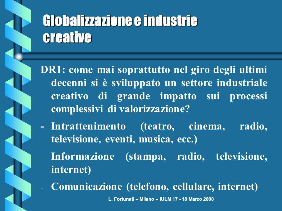 L. Fortunati – Milano – IULM 17 - 18 Marzo 2008 Globalizzazione e industrie creative DR1: come mai soprattutto nel giro degli ultimi decenni si è svil