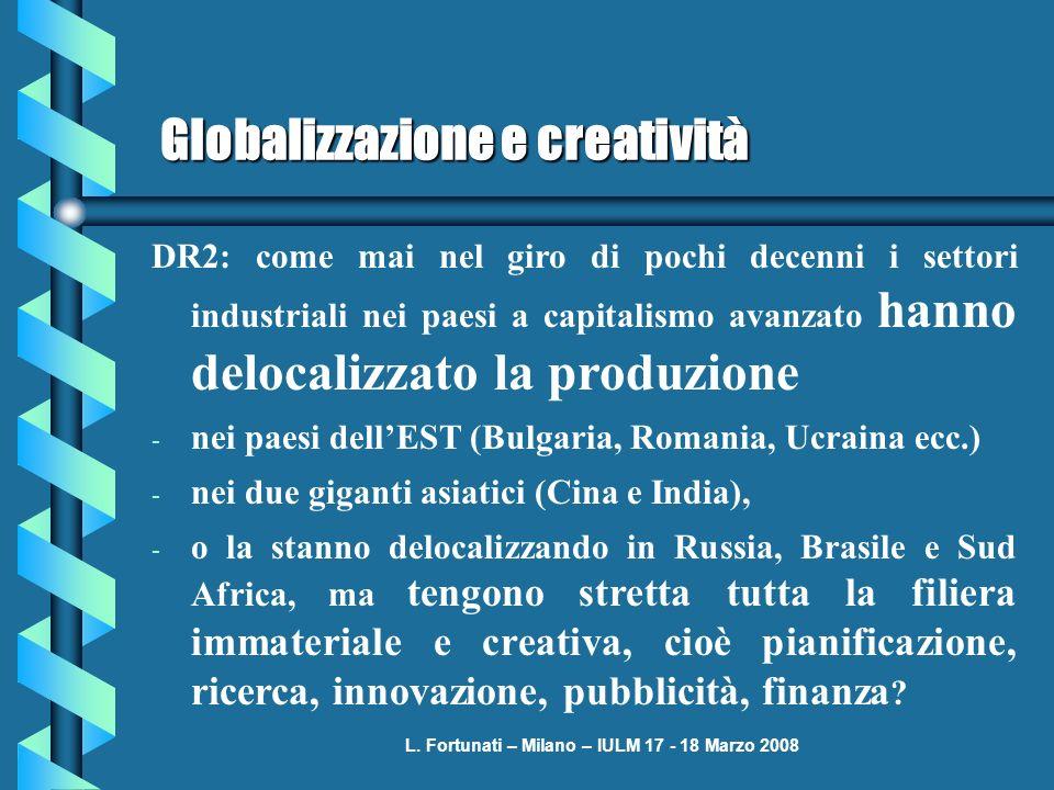 L. Fortunati – Milano – IULM 17 - 18 Marzo 2008 Globalizzazione e creatività DR2: come mai nel giro di pochi decenni i settori industriali nei paesi a