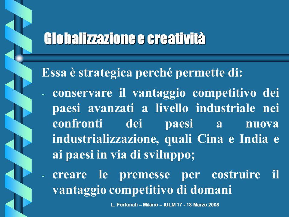 L. Fortunati – Milano – IULM 17 - 18 Marzo 2008 Globalizzazione e creatività Essa è strategica perché permette di: - conservare il vantaggio competiti