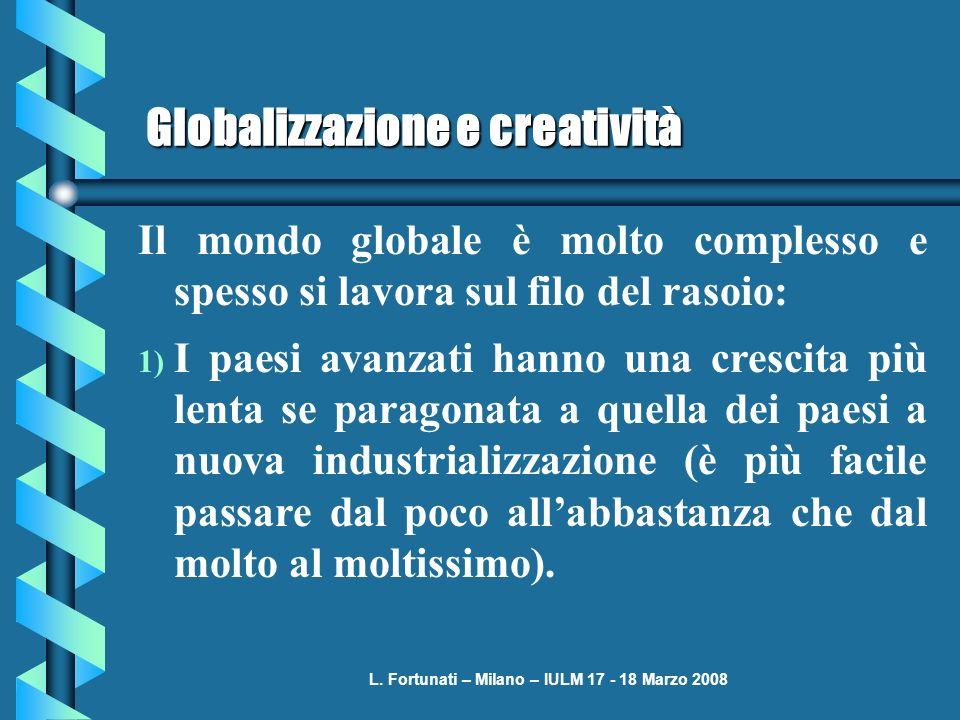 L. Fortunati – Milano – IULM 17 - 18 Marzo 2008 Globalizzazione e creatività Il mondo globale è molto complesso e spesso si lavora sul filo del rasoio