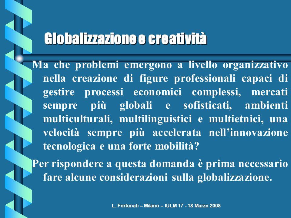 L. Fortunati – Milano – IULM 17 - 18 Marzo 2008 Globalizzazione e creatività Ma che problemi emergono a livello organizzativo nella creazione di figur