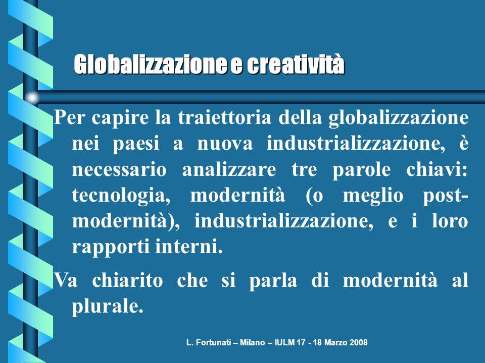L. Fortunati – Milano – IULM 17 - 18 Marzo 2008 Globalizzazione e creatività Per capire la traiettoria della globalizzazione nei paesi a nuova industr