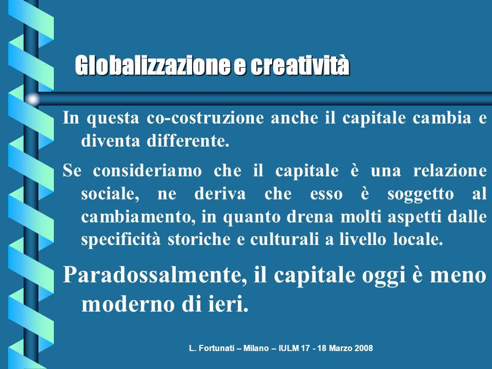 L. Fortunati – Milano – IULM 17 - 18 Marzo 2008 Globalizzazione e creatività In questa co-costruzione anche il capitale cambia e diventa differente. S
