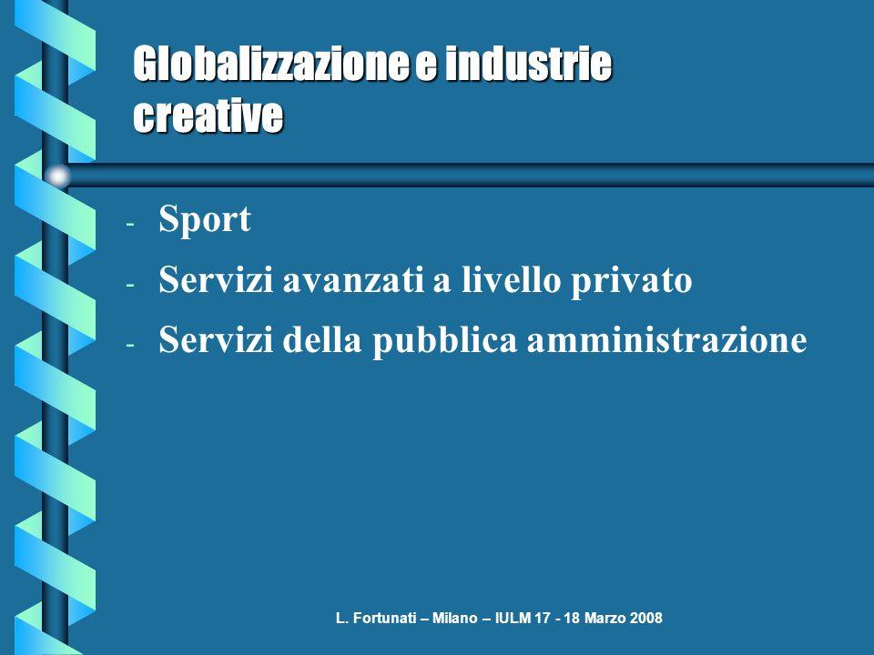 L. Fortunati – Milano – IULM 17 - 18 Marzo 2008 Globalizzazione e industrie creative - Sport - Servizi avanzati a livello privato - Servizi della pubb