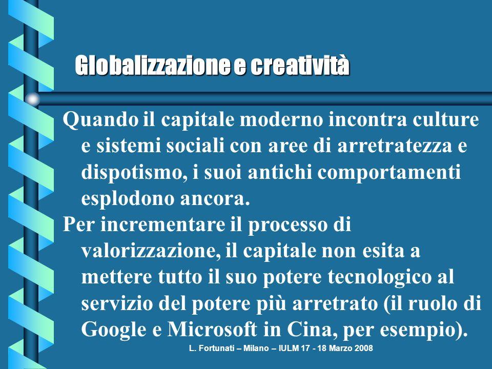 L. Fortunati – Milano – IULM 17 - 18 Marzo 2008 Globalizzazione e creatività Quando il capitale moderno incontra culture e sistemi sociali con aree di
