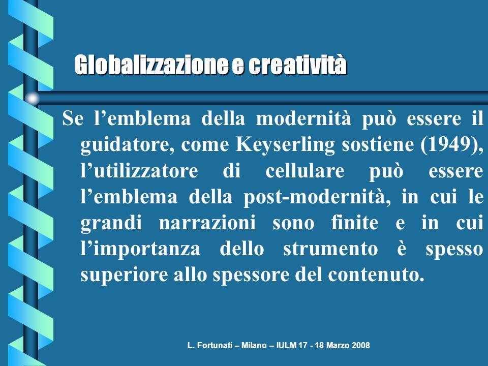 L. Fortunati – Milano – IULM 17 - 18 Marzo 2008 Globalizzazione e creatività Se lemblema della modernità può essere il guidatore, come Keyserling sost