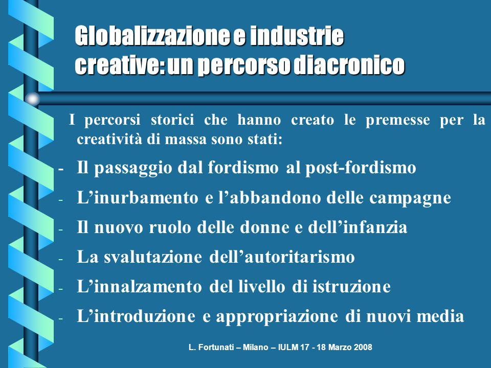 L. Fortunati – Milano – IULM 17 - 18 Marzo 2008 Globalizzazione e industrie creative: un percorso diacronico I percorsi storici che hanno creato le pr