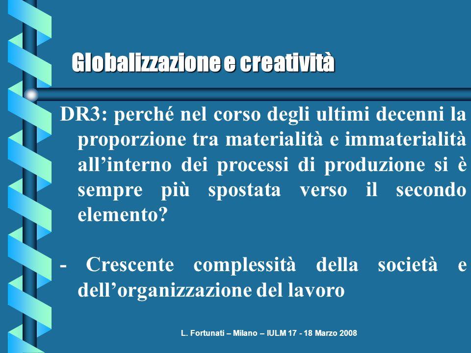 L. Fortunati – Milano – IULM 17 - 18 Marzo 2008 Globalizzazione e creatività DR3: perché nel corso degli ultimi decenni la proporzione tra materialità
