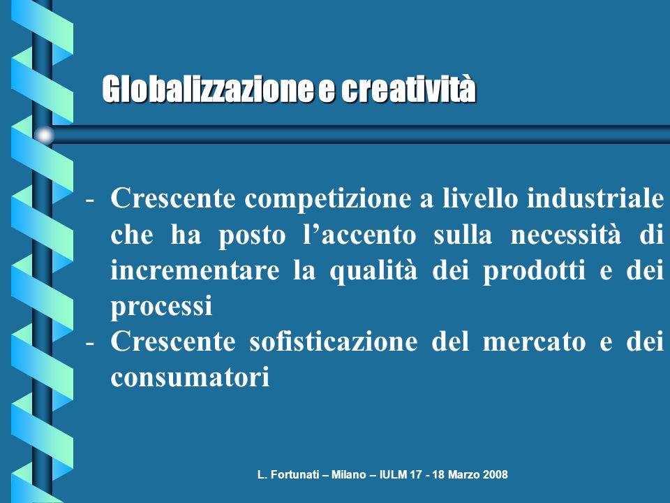 L. Fortunati – Milano – IULM 17 - 18 Marzo 2008 Globalizzazione e creatività -Crescente competizione a livello industriale che ha posto laccento sulla