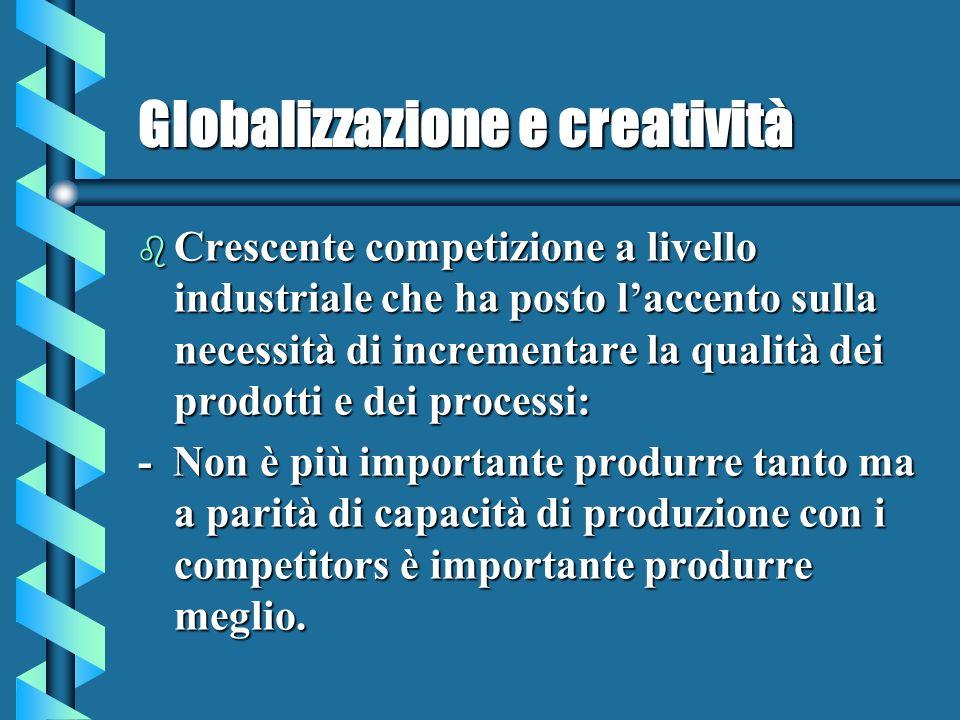 Globalizzazione e creatività b Crescente competizione a livello industriale che ha posto laccento sulla necessità di incrementare la qualità dei prodotti e dei processi: - Non è più importante produrre tanto ma a parità di capacità di produzione con i competitors è importante produrre meglio.