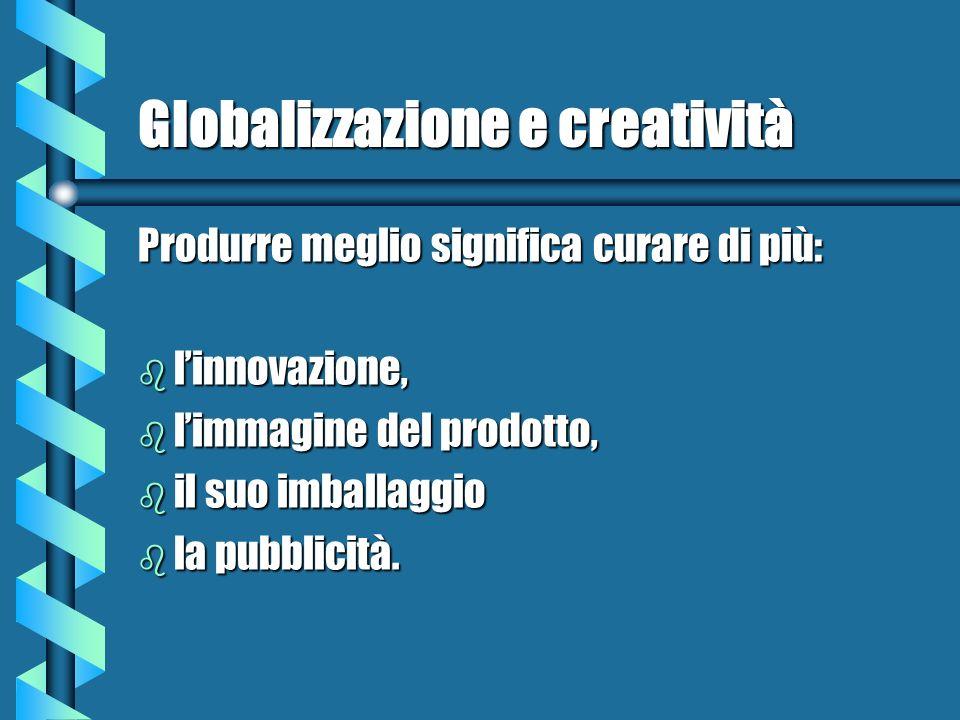 Globalizzazione e creatività Produrre meglio significa curare di più: b linnovazione, b limmagine del prodotto, b il suo imballaggio b la pubblicità.