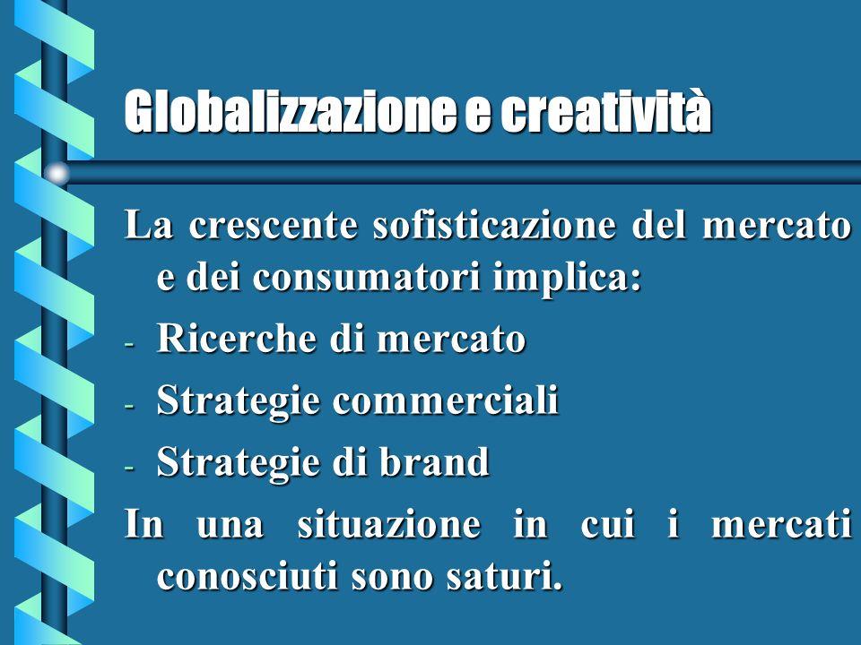 Globalizzazione e creatività La crescente sofisticazione del mercato e dei consumatori implica: - Ricerche di mercato - Strategie commerciali - Strategie di brand In una situazione in cui i mercati conosciuti sono saturi.