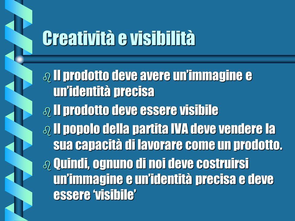Creatività e visibilità b Il prodotto deve avere unimmagine e unidentità precisa b Il prodotto deve essere visibile b Il popolo della partita IVA deve vendere la sua capacità di lavorare come un prodotto.