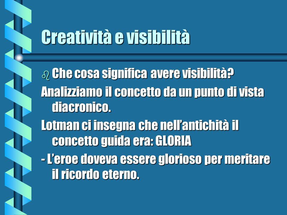 Creatività e visibilità b Che cosa significa avere visibilità? Analizziamo il concetto da un punto di vista diacronico. Lotman ci insegna che nellanti