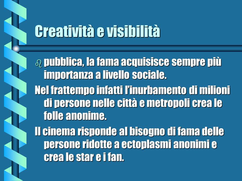 Creatività e visibilità b pubblica, la fama acquisisce sempre più importanza a livello sociale. Nel frattempo infatti linurbamento di milioni di perso