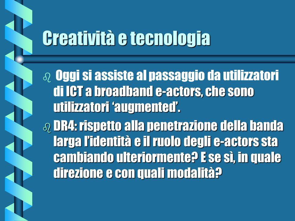 Creatività e tecnologia b ICT a broadband e-actors, che sono utilizzatori augmented. b Oggi si assiste al passaggio da utilizzatori di ICT a broadband