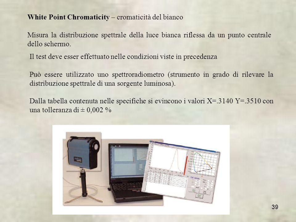 39 White Point Chromaticity – cromaticità del bianco Misura la distribuzione spettrale della luce bianca riflessa da un punto centrale dello schermo.