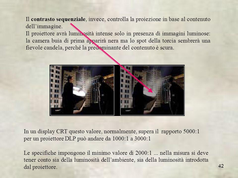 42 Il contrasto sequenziale, invece, controlla la proiezione in base al contenuto dellimmagine.