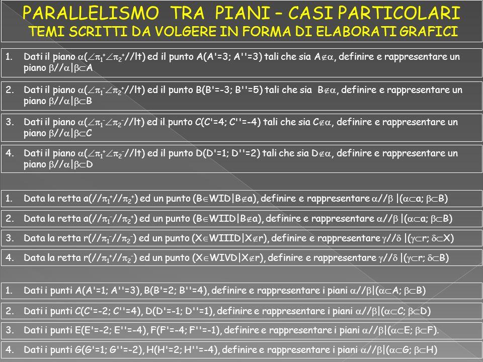 1.Dati il piano ( 1 + 2 + //lt) ed il punto A(A'=3; A''=3) tali che sia A, definire e rappresentare un piano //   A 2.Dati il piano ( 1 - 2 + //lt) ed