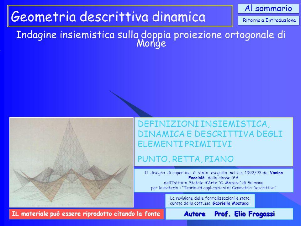 Geometria descrittiva dinamica Indagine insiemistica sulla doppia proiezione ortogonale di Monge Si propone una metodologia di lavoro didattico che pone al centro dellinsegnamento non tanto il disegno come strumento grafico quanto il disegno come pensiero e, quindi, come linguaggio scientifico della comunicazione iconica e della rappresentazione descrittiva.