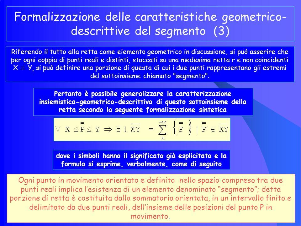 Quanto sopra è valido per ogni retta per cui, volendo generalizzare il concetto dinamico di segmento, come sopra definito, si può utilizzare la seguente espressione insiemistica = Quantificatore insiemistico universale (Per ogni).