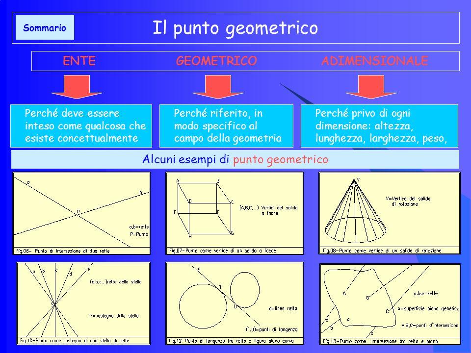 Alcuni esempi di punto geometrico Il punto geometrico ENTE GEOMETRICO ADIMENSIONALE Perché deve essere inteso come qualcosa che esiste concettualmente Perché riferito, in modo specifico al campo della geometria Perché privo di ogni dimensione: altezza, lunghezza, larghezza, peso, Sommario