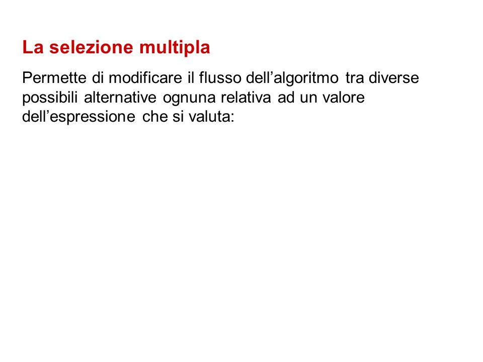 La selezione multipla Permette di modificare il flusso dellalgoritmo tra diverse possibili alternative ognuna relativa ad un valore dellespressione che si valuta: